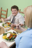 Mother And Son Having Diet Food Stock Image
