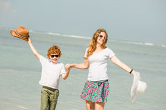 Mother and son having family time on holidays Stock Image