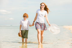 Mother and son having family time on holidays Royalty Free Stock Images