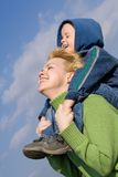 Mother and son having fun. Outdoors in springtime Royalty Free Stock Photography
