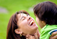 Mother and son having fun Royalty Free Stock Photos