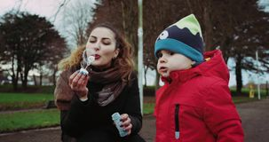 Mother and son having fun with bubbles in park. stock video footage