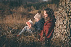 Mother and son having fun in nature Royalty Free Stock Photos