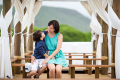 Mother and son having fun during summer vacation Stock Photography