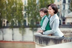 Mother and son having fun during summer vacation Royalty Free Stock Image