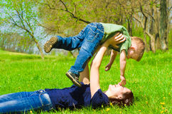 Mother with son having fun. Young mother with son having fun outdoors Royalty Free Stock Photo