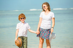 Mother and son having great summer time on the Royalty Free Stock Images