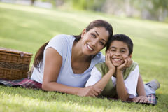 Mother and son having picnic Stock Images