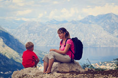 Mother and son having rest in mountains Stock Photography