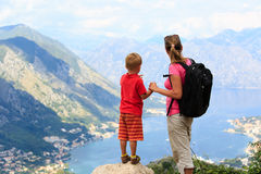 Mother and son having rest in mountains Royalty Free Stock Photo