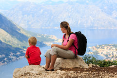Mother and son having rest in mountains Royalty Free Stock Image