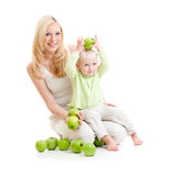Mother and son with healthy food or apples Stock Photography