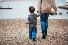 Mother and son. Mother and her son by the sea Royalty Free Stock Photo