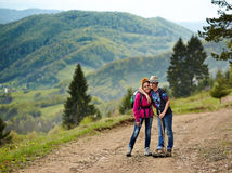 Mother and son hikers Stock Image