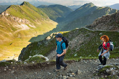 Mother and son hiking in the mountains Royalty Free Stock Photography
