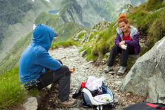 Mother and son hiking in the mountains Stock Photography