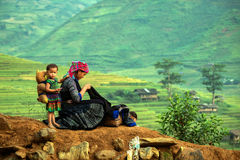 Mother and son. Hmong in Vietnam Mother and daughter are garment Stock Photo