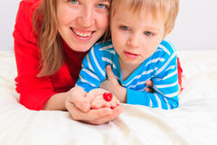 Mother and son holding heart Royalty Free Stock Image