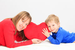 Mother and son holding heart Stock Photo