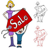 Mother and Son Holding Sale Pricetag Sign Royalty Free Stock Photo