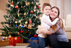 Mother and son at home Stock Images