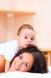 Mother and son at home Stock Photo
