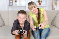 Mother And Son At Home Stock Image