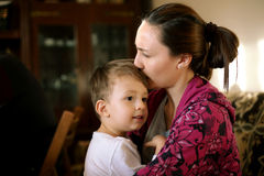Mother and Son. Hug, son feeling safe royalty free stock photography