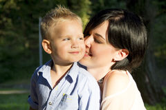 Mother and son hugging Royalty Free Stock Photography