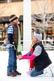 Mother and son ice-skating Royalty Free Stock Images