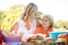 Mother and son interacting with each other while having meal in park Royalty Free Stock Photography