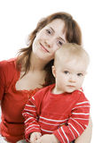 Mother and  Son isolated on white. Royalty Free Stock Photo