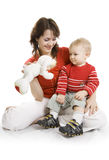 Mother and  Son isolated on white. Stock Image