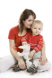 Mother and  Son isolated on white. Royalty Free Stock Photography