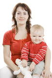 Mother and  Son isolated on white. Royalty Free Stock Image