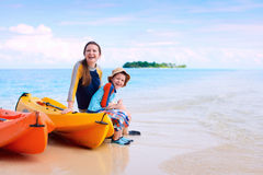 Mother and son after kayaking Royalty Free Stock Images