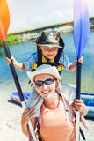 Mother and son kayaking Stock Photo