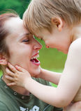 Mother with son laughing Stock Photos