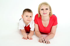 Mother and the son lie on a floor. Stock Image
