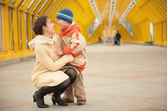 Mother and son look each other Royalty Free Stock Photography