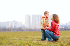 Mother and son  look on each other Stock Photo