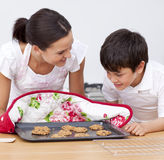Mother and son looking at  biscuits Royalty Free Stock Photo