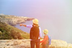 Mother and son looking at mountains on summer Royalty Free Stock Photography