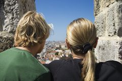 Mother and son looking at view Portugal. Stock Photos