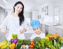 Asian family and healthy vegetable Royalty Free Stock Photography