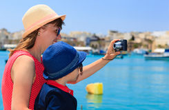 Mother and son making selfie while travel in Europe, Malta Stock Photos