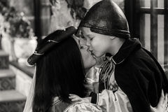 Mother and son in medieval costumes Royalty Free Stock Photo
