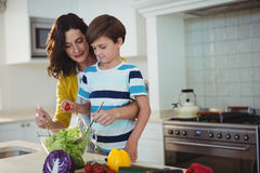 Mother and son mixing the salad in kitchen Stock Photo