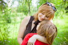 Mother and son on Mother's Day. Spring portrait of mother and son on Mother's Day Royalty Free Stock Image