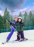 Mother with son on the mountain sky resort Stock Image